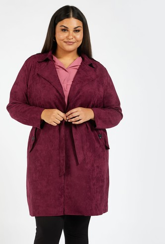 Solid Lapel Collar Trench Coat with Long Sleeves and Tie-Ups