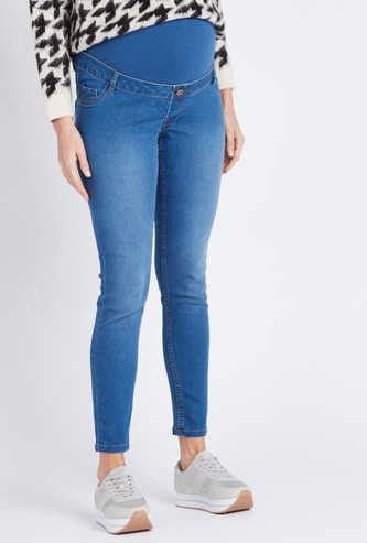 Maternity Solid Jeans with Pockets