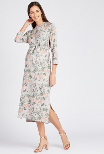 Floral Print A-line Midi Dress with Round Neck and 3/4 Sleeves
