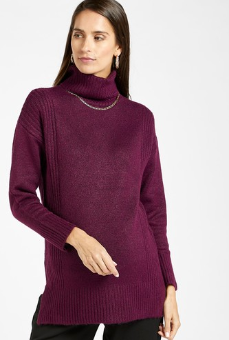 Textured Maternity Sweater with Long Sleeves and High Neck