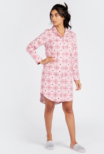 Cozy Collection Checked Sleepshirt with Collared Neck and Long Sleeves