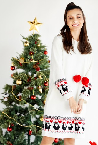 Cozy Collection Printed Sleepshirt with Hood and Long Sleeves