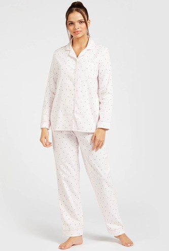 Printed Collared Shirt and Full-Length Pyjama Set