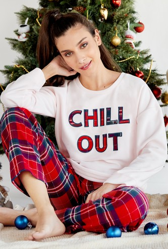 Cozy Collection Slogan Print Round Neck Top and Full Length Pyjama Set