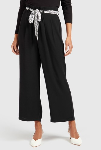 Wide Fit Solid Mid-Rise Palazzo Pants with Pocket Detail