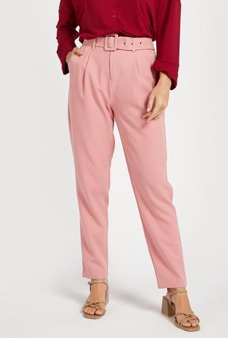 Solid Full Length Mid Rise Trousers with Belted Waist and Pockets