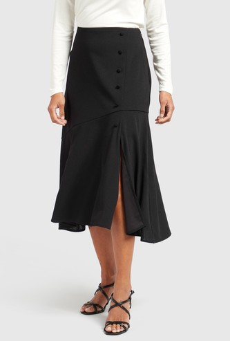 Solid Midi A-line Skirt with Button Detail and Zip Closure