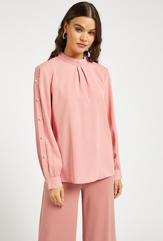 Solid Top with High Neck and Pearl Detail Sleeves