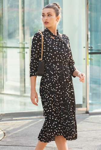 Polka Dot Print Midi A-line Dress with Pussy Bow and 3/4 Sleeves