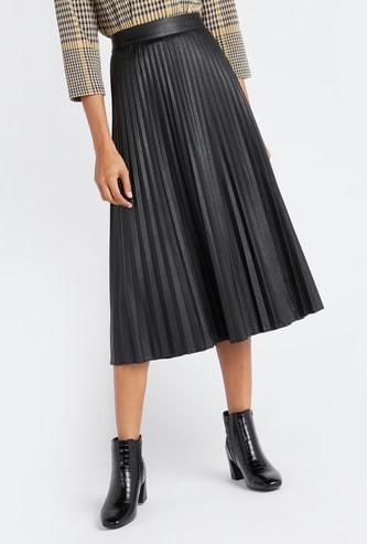 تنورة ميدي بطيّات رفيعة مع حزام مطاطي