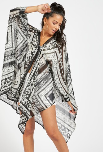 Paisley Print Kaftan with Long Sleeves with Front Knot