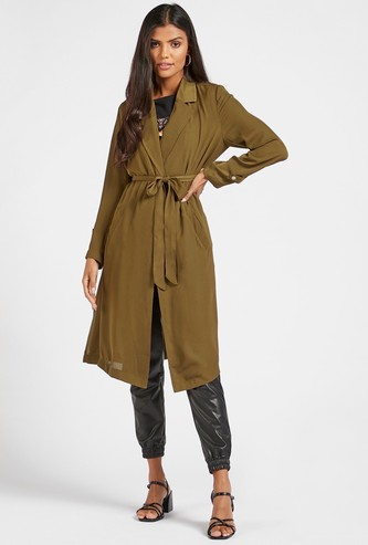 Solid Longline Jacket with Long Sleeves and Tie-Ups