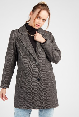 Herringbone Textured Overcoat with Long Sleeves and Slip Pockets