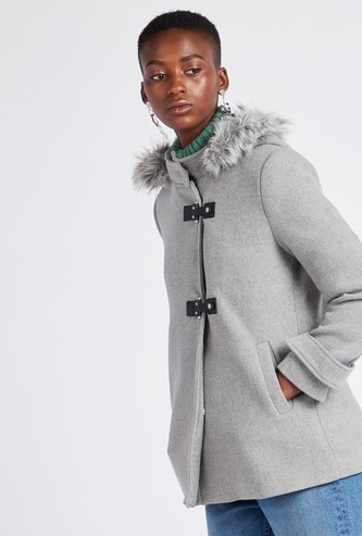 Textured Parka Hooded Neck Jacket with Long Sleeves and Buckle Closure