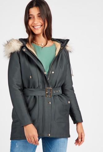 Parka Jacket with Hood and Belt Detail