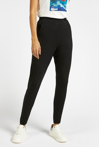 Solid Mid-Rise Harem Pants with Pocket Detail and Elasticised Waist