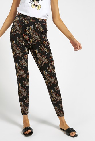 All-Over Print Mid-Rise Pants with Pockets and Elasticised Waist