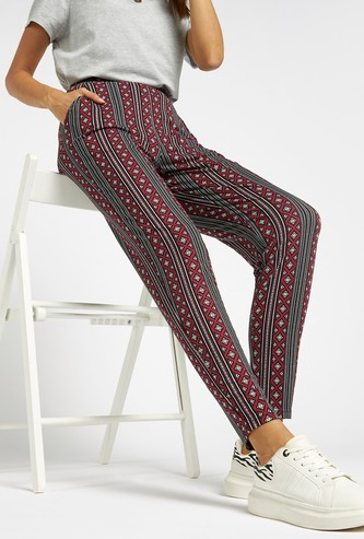 All-Over Print Mid-Rise Harem Pants with Pockets and Elasticised Waist