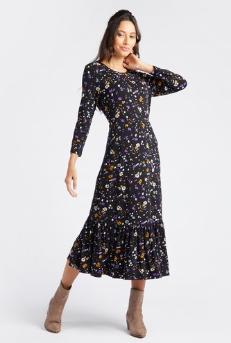 Floral Print Midi Tiered Dress with Round Neck and Long Sleeves