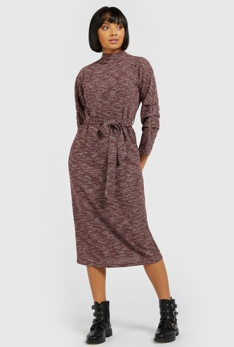 Textured High-Neck Midi Dress with 3/4 Sleeves and Tie Ups