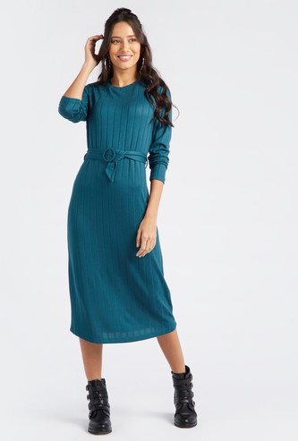 Textured Midi Round Neck Shift Dress with Long Sleeves and Belt Detail