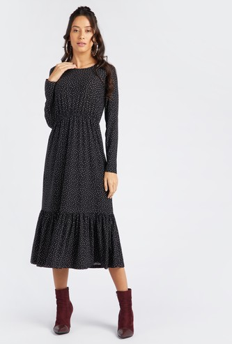 Scatter Dots Print Round Neck Midi Tiered Dress with Long Sleeves