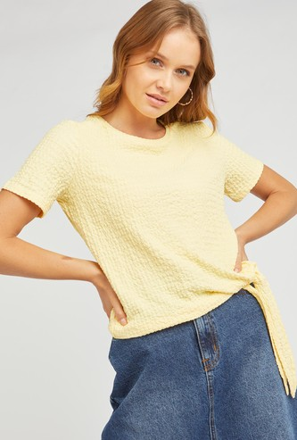 Textured Top with Short Sleeves and Tie Ups