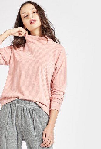 Ribbed Corduroy Jumper with High Neck and Long Sleeves