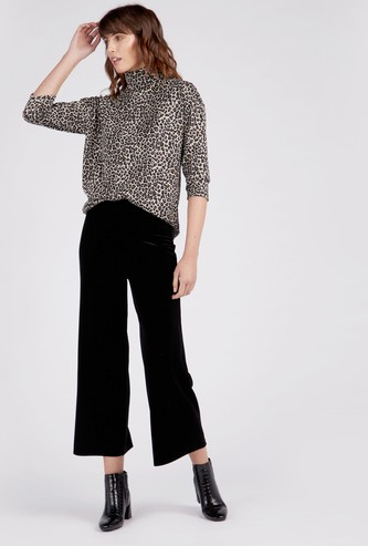 Printed Regular Fit High Neck Cozy Top with 3/4 Sleeves