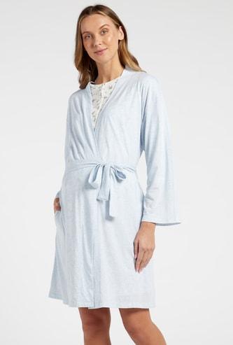 Printed Henley Neck Maternity Sleepshirt and Robe Set