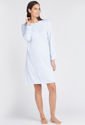 قميص نوم للحوامل بأكمام طويلة وطبعات - تشكيلة كوزي