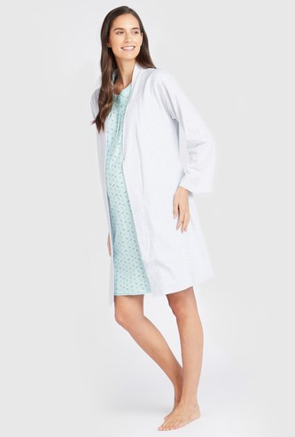 Printed Round Neck Maternity Sleepshirt with Solid Robe