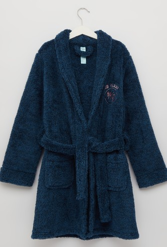 Cozy Collection Plush Robe with Long Sleeves and Pockets