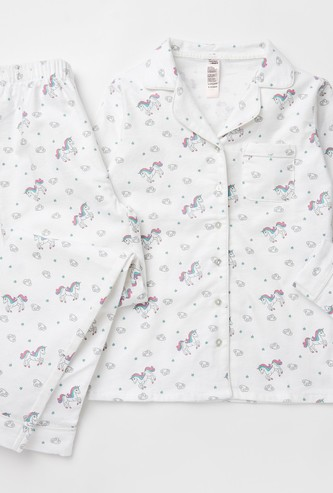 Cozy Collection Printed Collared Shirt and Full Length Pyjama Set