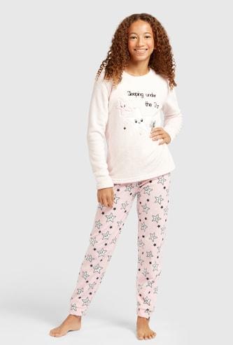 Textured Long Sleeves T-shirt and All-Over Print Pyjama Set