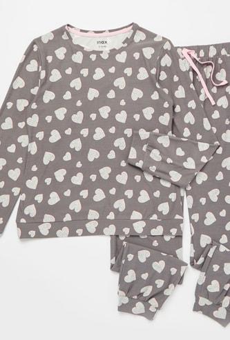 Cozy Collection Heart Print T-shirt and Full Length Pyjama Set