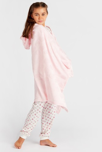 Cozy Collection Heart Textured Blankie with Hood and Hand Coverings