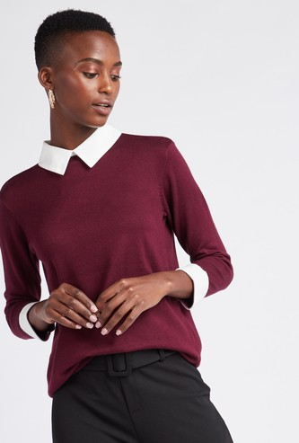 Solid Sweater with Collar and 3/4 Sleeves