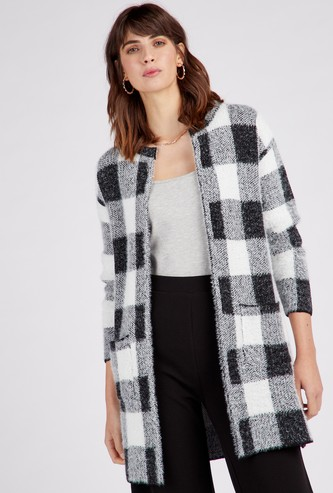 Chequered Coatigan with Long Sleeves
