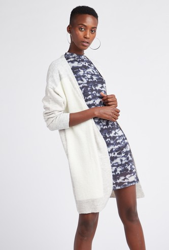 Colourblock Open Front Cardigan with Long Sleeves