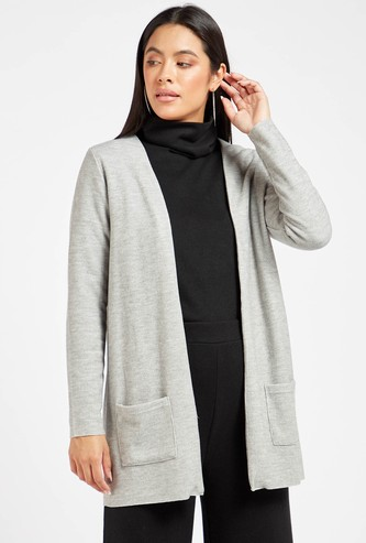 Solid Cardigan with Pockets and Long Sleeves