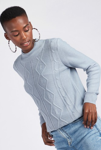 Knitted High Neck Sweater with Long Sleeves