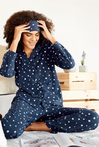 Gift Pack - Cozy Star Print Shirt and Pyjama Set with Eye Mask