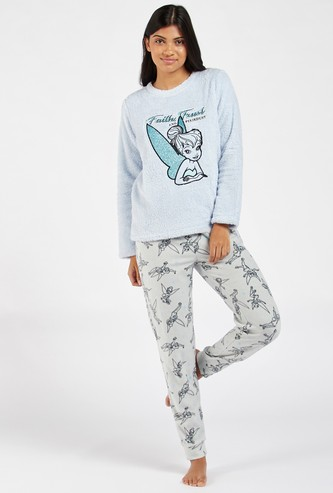 Cozy Collection Tinker Bell Graphic Print T-shirt and Pyjama Set