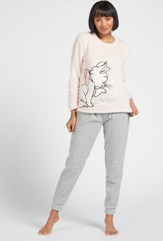 Cozy Collection Textured Round Neck T-shirt and Full Length Pyjama Set