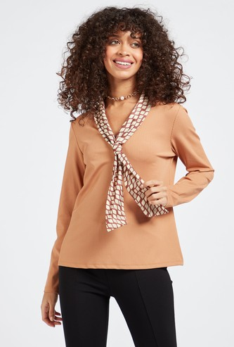 Ribbed Top with Long Sleeves and Printed Front Tie Detail