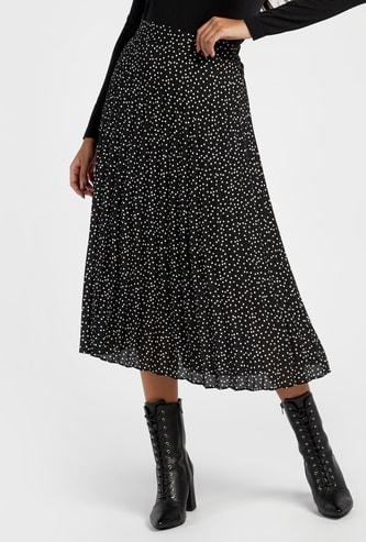 Polka Dot Print Pleated Midi A-line Skirt with Elasticised Waistband