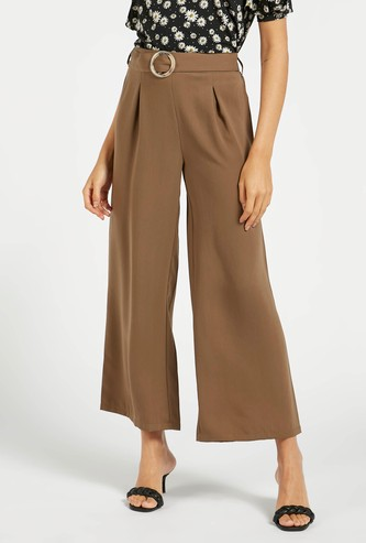Solid Ankle-Length Palazzos with Belt