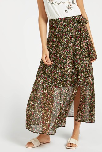 Floral Print A-line Maxi Wrap Skirt with Tie-Ups