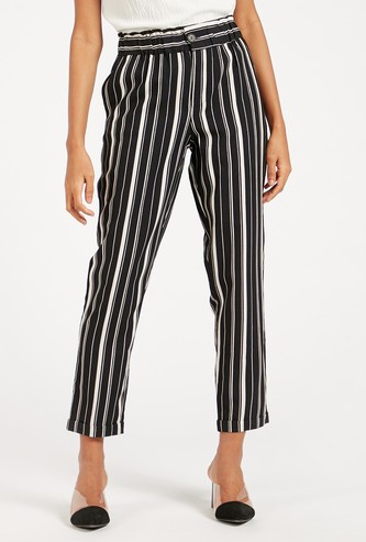 Striped Mid-Rise Pants with Pocket Detail Paperbag Waist